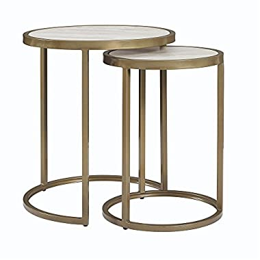 Dorel Living Moriah Nesting Tables, Soft Brass, Faux Marble