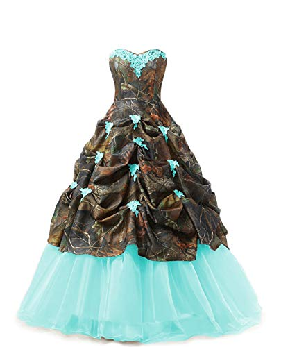 Chupeng Women's Appliques Camouflage Satin Wedding Bridal Dresses Prom Quinceanera Ball Gowns Plus Size Teal