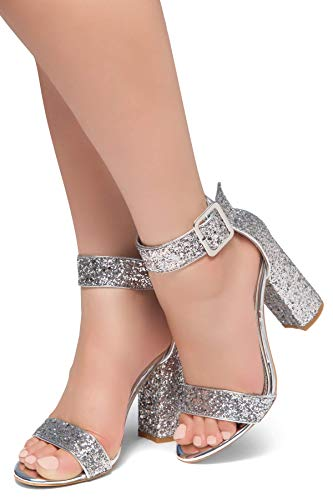 HerStyle Rumors Women's Fashion Chunky Heel Sandal Open Toe Wedding Pumps with Buckle Ankle Strap Evening Party Shoes SilverGlitter 8.5