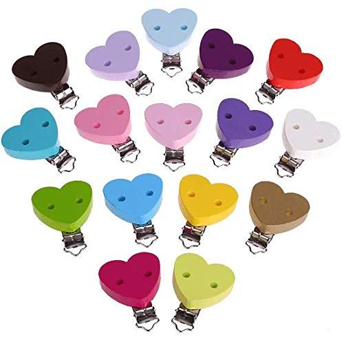 Clip bois pour attache tétine - en forme de cœur bleu bébé