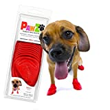 Pawz Dog Boots | Dog Paw Protection with Dog Rubber Booties | Dog Booties for Winter, Rain and Pavement Heat | Waterproof Dog Shoes for Clean Paws | Paw Friction for Dogs | Dog Shoes | Red | Small