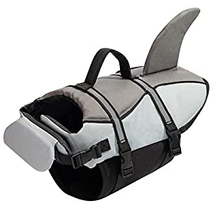 Hollypet Dog Life Jacket Adjustable Dog Lifesaver Reflective Vest Pet Life Preserver with Rescue Handle Medium Gray