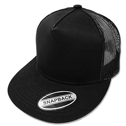 GREAT CAP Blank Trucker Hat - Classic Flat Bill Visor Baseball with Mesh Snapback for Hot Weather, Summer, Outdoor, Running, Car Driving, Vacation, Fishing, Sport, Daily - Black/Black
