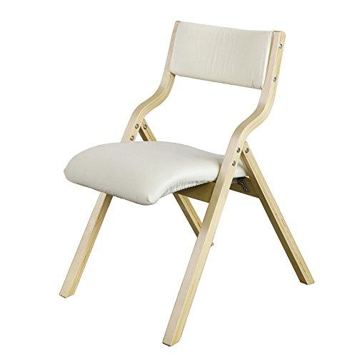 SoBuy FST40-W Chaise pliante en bois avec assise rembourrée, Chaise pliable pour Cuisine, Bureau - Beige