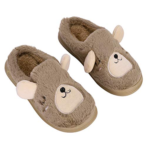 Kids Bear Slippers 3D Novelty Plush Mules Anti-Skid Children Booties Slip-On Sliders Home Shoes Animal Warm Slipper Travel Office Brown
