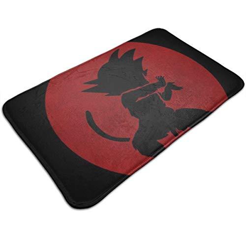 Kame Hame Goku Silueta Roja Dragon Ball Z Felpudo de entrada antideslizante para baño, alfombra de cocina de 49,5 x 80 cm, alfombra absorbente
