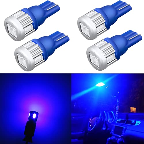 Alla Lighting 4x 194 LED Bulb Super Bright 175 168 2825 W5W T10 Wedge 5630 SMD Lights Replacement for Side Marker Interior Map Dome Trunk Parking Courtesy Lights, 10000K Blue