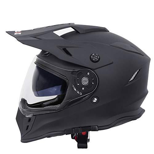 Zorax Matt Black L (59-60cm) ZOR-X327 Dual Sport Double Visor Motorbike Motocross Helmet Matt MX...