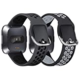 XIMU 2-Pack Sport Bands Compatible with Fitbit Versa 2 / Versa / Versa Lite, Soft Silicone Waterproof Breathable Sport Watch Strap Replacement Wristband Accessories Women Man for Versa Smart Watch