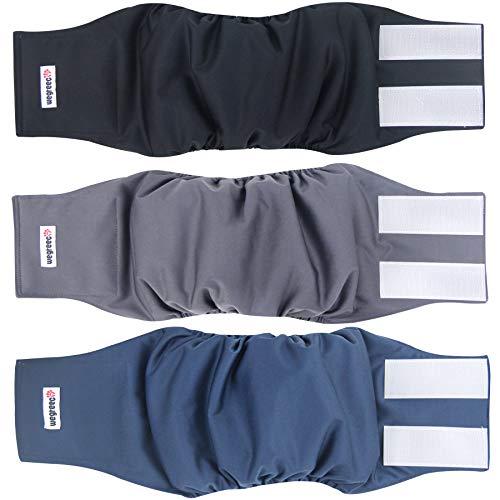 wegreeco Washable Male Dog Belly Band (Stylish Pattern)- Pack of 3 - Washable Male Dog Belly Wrap, Dog Diapers Male (Large, Charming)