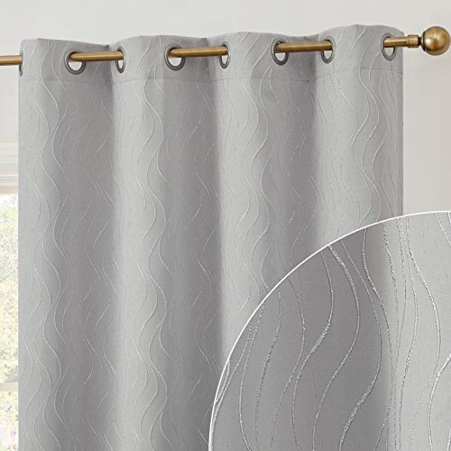 HLC.ME Camden Pattern 100% Full Blackout 2 Layer Winter Heat Thermal Insulated Soundproof Floor Length Wide Window Curtain Drapery Grommet Panels for Dining Room, Set of 2 (50 x 84, Light Grey/Silver)