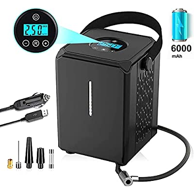 Portable Air Compressor for Car Tires?12V 150PSI Cordless Air Pump with Emergency LED Light,Air Compressor Tire Inflator with Car Power Adapter,Auto Shutoff?Digital Pressure Gauge and USB Charging.