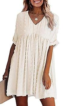 ECOWISH Women Summer Dress V-Neck Polka Dot Short Sleeve Casual Loose Flowy Swing Tunic Pregnant Dresses Beige Small