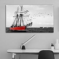 ボートに乗って海のモノクロ写真ウォールアートのためにリビングルームのベッドルームモダンな内装ホームはNOフレームを絵画 (Color : Sea, Size : 50x85cm)