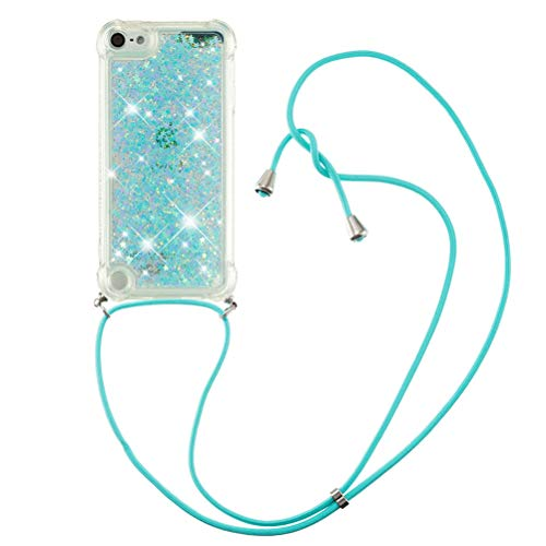 COTDINFOR Compatible con iPod Touch 7, funda protectora con purpurina líquida, funda protectora con cordón de silicona para iPod Touch 5/6/7 TPU Star Green YB.