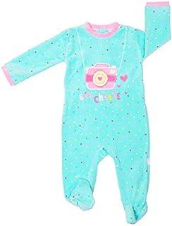 Pack 2 Pijamas Pelele Polar Cuerpo Entero Bebe niña para Dormir (Turquesa/Rayas Rosa, 12 meses-74 cm)