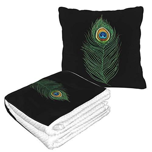 Manta de viaje suave y cálida de plumas de pavo real 2 en 1 de alta calidad con diseño de avión, almohada de cuello para dormir