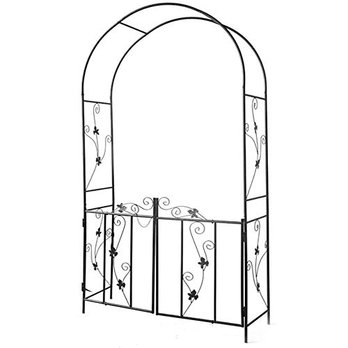 COFFEE CAT Perfect Metal Garden Arbor,With Fence Gate,Outdoor Arches,Garden Arbor For Various Climbing Plant,Height 84 × Width 43 × Thickness 14.5 Inches,black.