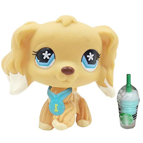 QY lps Tan Cocker Spaniel 748 with Blue Flower Big Eyes with lps Accessories Drinks Collars Children Gift