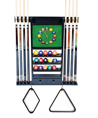 Queue-Rack nur – 8 Pool – Billardstock & Ball Wandregal mit Uhr, Mahagoni oder dunkles Eichen-Finish (schwarz)