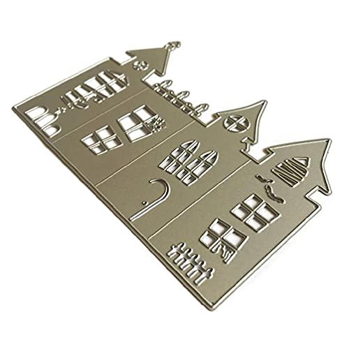 Halloween Castle Metal Cutting Dies Stencil Scrapbooking Álbum de bricolaje Sello Tarjeta de papel Decoración en relieve Craft Troqueles de corte de metal para sentimientos de fabricación de