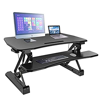 Komene Standing Desk for Home Office-35 inch Standing Desk Converter, Dual-Display Workstation with Gas Spring Lifting Device, Height-Adjustable Computer Desk-No Installation Required (Black)