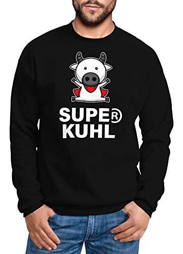 MoonWorks Sweatshirt Herren Super Kuhl Kuh Rundhals-Pullover schwarz L