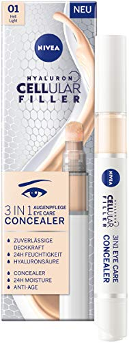 NIVEA Hyaluron Cellular Filler 3IN1 Augenpflege Concealer Hell (4 ml), Anti-Age Concealer mit Hyaluron, Abdeckstift für Augenringe, Rötungen und Pickel