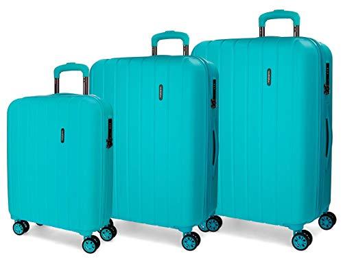 Movom Wood Juego de maletas Azul 55/65/75 cms Rígida ABS Cierre TSA 220L 4 Ruedas Dobles Equipaje de Mano