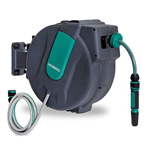 VONROC Carrete de Manguera automático - Incluye 25m de Manguera de jardín, Manguera de conexión, Boquilla, acoplamientos y Conector de Grifo