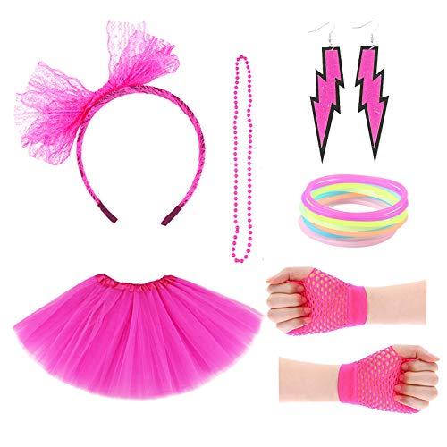 thematys® 80iger Kostüm Set in Neon Pink 6-teilig - Haarband, Kette, Handschuhe, Armreife, Ohrringe und Tutu - für Mädchen perfektes Accessoire für Fasching, Karneval & Cosplay