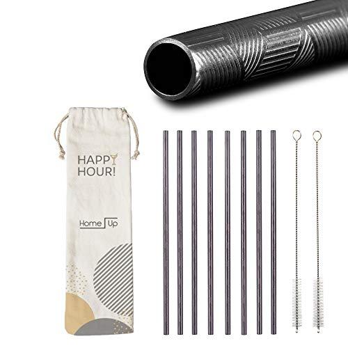 HomeUp - Nero Cannucce in Acciaio Inox con Impugnatura, riutilizzabili, Design Elegante, Set con 8 cannucce dritte e 2 spazzole di Pulizia, Strade riutilizzabili (215 x 6 mm)