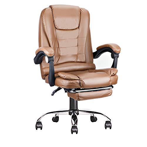 Bürostuhl Chefsessel Ergonomischer Drehstuhl Schreibtischstuhl mit Gepolsterte Armlehne und Fußstütze, Verstellbarer Liegestuhl mit hoher Rückenlehne (Braun)
