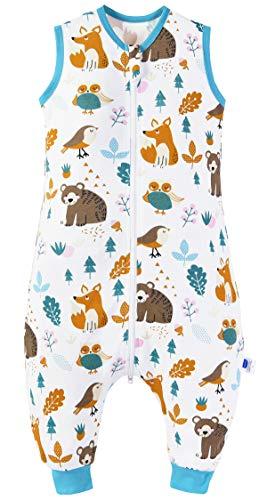 Chilsuessy Baby Schlafsack Sommer mit Füßen 0.5 Tog 100% Baumwolle Kinder Sommerschlafsack für Jungen und Mädchen, Waldtiere, 80cm/Baby Höhe 90-100cm