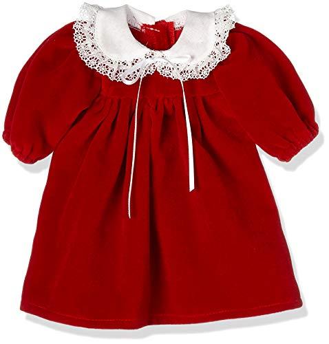 Puppenmode Sturm 2601-1 sammetsklänning med bubikrage för dockor, röd