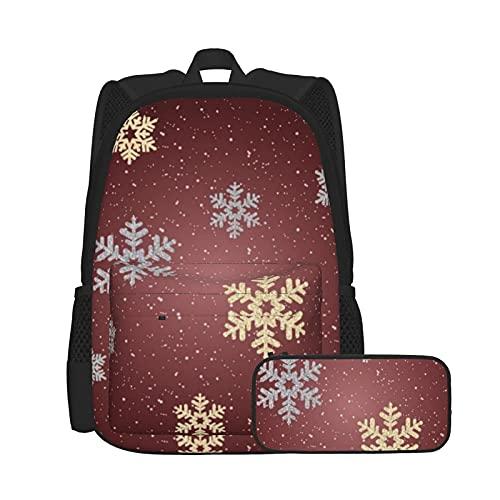 Conjunto de mochila y estuche para lápices, bolsa de ordenador portátil y estuche combinación, mochila de trabajo y estudio y bolsa de cosméticos combinación oro plata copos de nieve en rojo vino