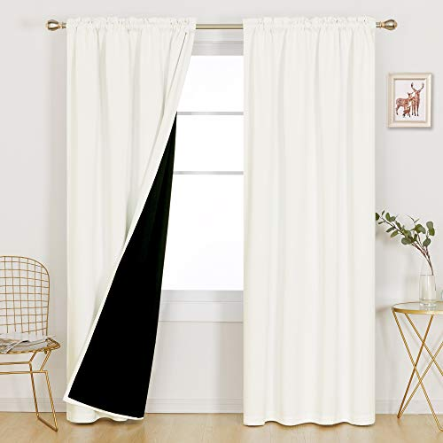 Deconovo Cream 100% Blackout Curtains 84 inches Long for Living Room Bedroom Farmhouse Thermal Insulated Noise Cancelling Window Panels Total Light Block, 2 Pieces, 52x84 Each, Cream