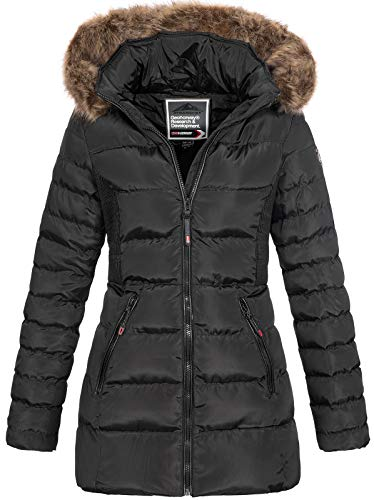Geographical Norway Damen Steppmantel Winterparka Anies Kapuze Black L