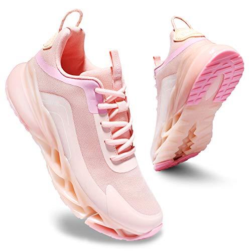 Deevike Laufschuhe Damen Sneaker Straßenlaufschuhe Sportschuhe Turnschuhe Ausrutschen Stoßdämpfung Schuhe Rosa-38
