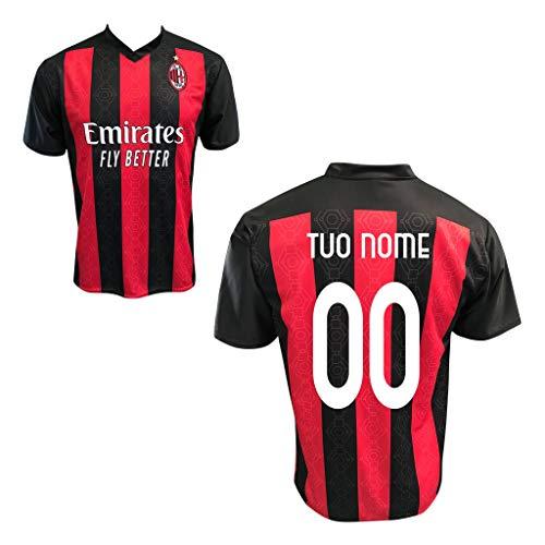 """Maglia Replica Home ROSSONERA CASA Ufficiale """"Nome+Numero Personalizzato Personalizzabile"""" A.C. Milan 2020/2021 (Ibrahimovic, MANDZUKIC, Theo, CALHANOGLU, LEAO, KESSIE) Adulto Bambino (L)"""