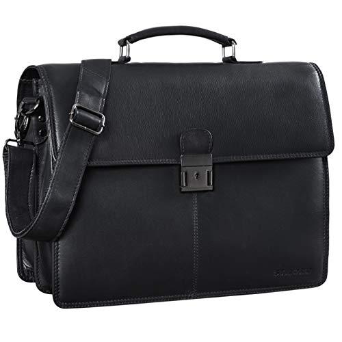 STILORD 'Apolonius' Arbeitstasche Herren Leder Vintage Aktentasche Umhängetasche Dokumententasche A4 15,6 Zoll Laptop Tasche für Büro Business Echtleder, Farbe:Obsidian schwarz