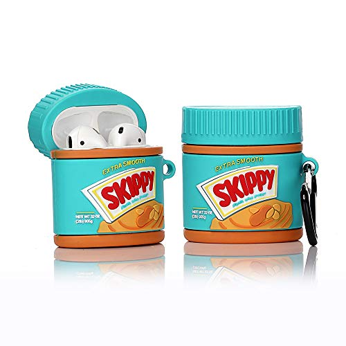 LEWOTE Airpods Silicone Case Funny Cute Cover Compatible for Apple Airpods 1&2[Dessert Food Series][Best Gift for Girls Boys or Couples] (Peanut Butter)