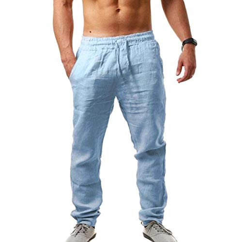 Vanvene Pantaloni casual da uomo, in lino, leggeri, elasticizzati in vita, pantaloni da jogging Blu L