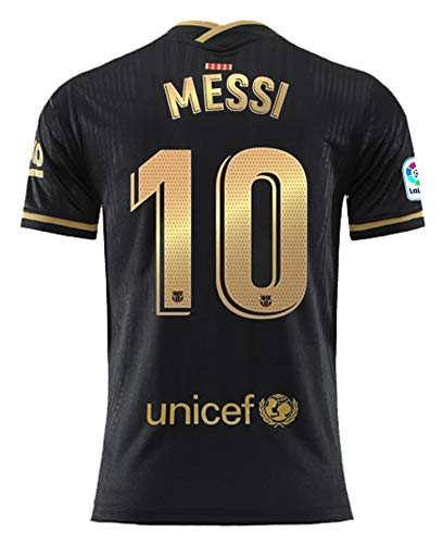 Domjurtd Messi #10 Away 2020/2021 New Season Men's Barcelona Black/Gold Soccer T-Shirts Jersey Size XL