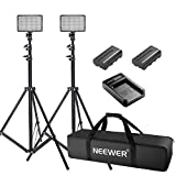 Neewer 2 Pieces 176 LED Dimmable on Camera Light and Stand Kit for Photo Video Shooting,YouTube,Snapchat Includes:(2)LED Light,(2)6 feet Light Stand,(2)Battery, (1)Charger and (1)Carry Case