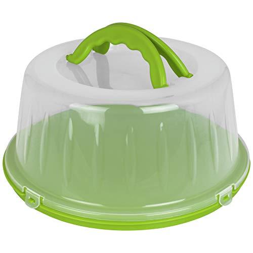 Kuchenhaube 33x15cm mit Farbwahl Tortenbehälter rund Kunststoff Tortenbox Kuchenbehälter Tortenglocke Transportbehälter Kuchen Torten Box (Grün)