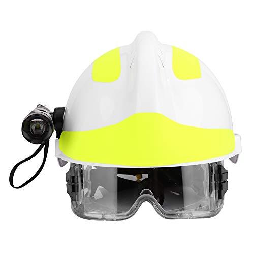 Cascos de Seguridad, Gafas integradas, Casco con Faro y Gafas, Casco Protector de Bombero, Casco Ajustable de protección para la Cabeza con Tablero de sombreado