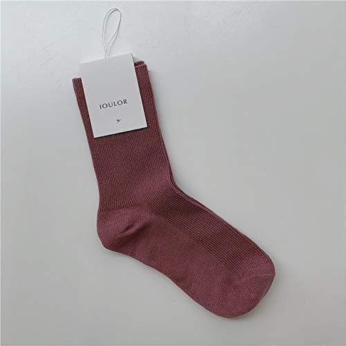 Xiaobing Calcetines cálidos Simples de Color sólido para Mujer Calcetines de algodón Suave de Invierno Calcetines a Rayas cálidos Calcetines Casuales para niñas -pink-35-39EU