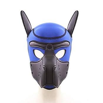 Dog Head Masks Neoprene Puppy Hood Custom Animal Full Face Head Mask Sexy Cosplay Puppy Mas  Black/Blue