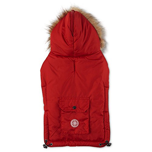 Good2Go Split Hood Parka Dog Coat in Red, Medium/Large